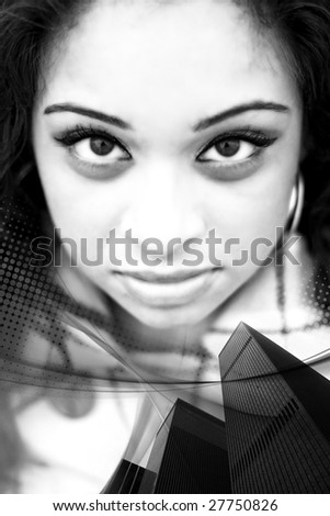 A city themed montage of a pretty Indian woman. - stock photo