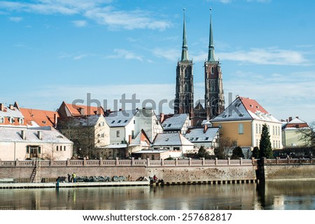 A cityscape cathedral, river Odra and Ostrow Tumski - Cathedral Island. Wroclaw, Poland - stock photo