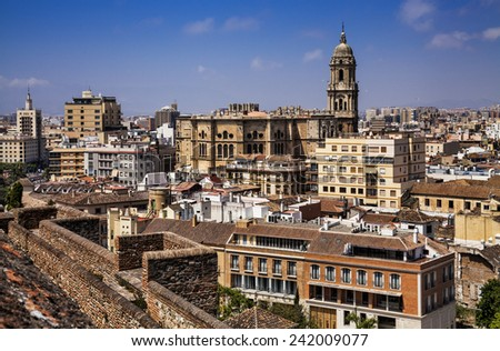 A cityscape of Malaga and Cathedral, Spain.  - stock photo