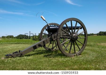 A Civil War era cannon on a ridge at Perryville, Kentucky. - stock photo