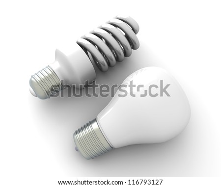 A classic and a modern energy saver light bulb. 3D rendered Illustration. Isolated on white. - stock photo