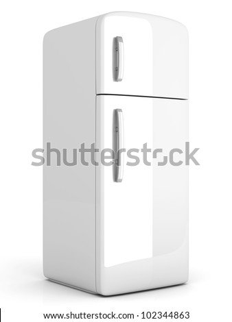 A classic Fridge. 3D rendered Illustration. Isolated on white. - stock photo