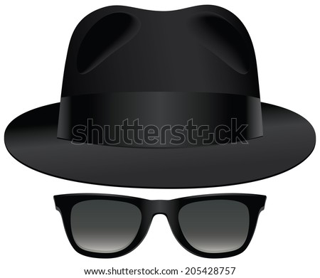 A classic set of black fedora and sunglasses. - stock photo