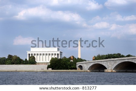 A classic Washington D.C. scene, taken from a boat on the Potomac. - stock photo