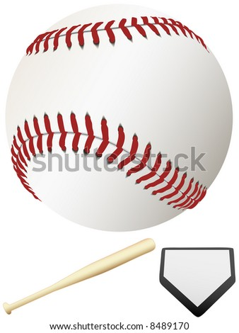 A clean, white major league baseball, ready for spring training & to throw out the first pitch of the season. Home Plate & Bat. - stock photo