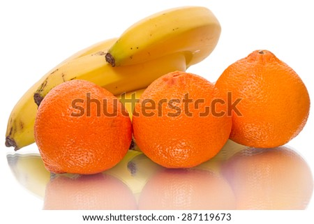 A clementine  is a hybrid between a Mediterranean Citrus and a sweet orange, so named in 1902. Isolated on a white background - stock photo