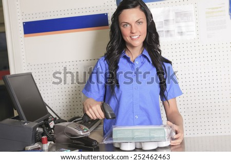 A clerk portrait in home appliance shop supermarket store - stock photo