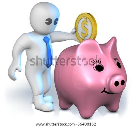 A clever man drop a big gold dollar into a piggy bank - stock photo