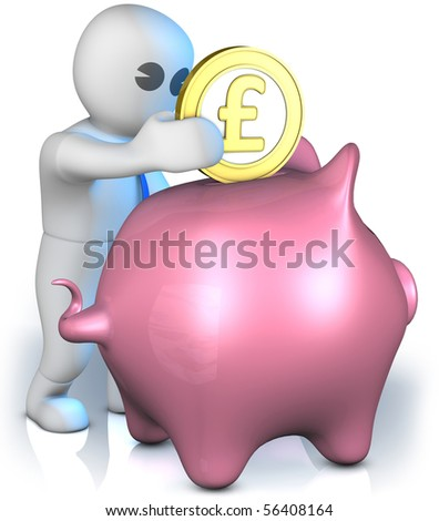 A clever man gather british pound into piggy bank - stock photo