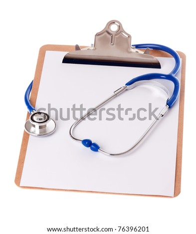 a clipboard with a blue stethoscope on isloated white background - stock photo