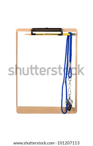 A clipboard with a clean, blank sheet of white paper and whistle hanging from a number 2 yellow pencil. - stock photo