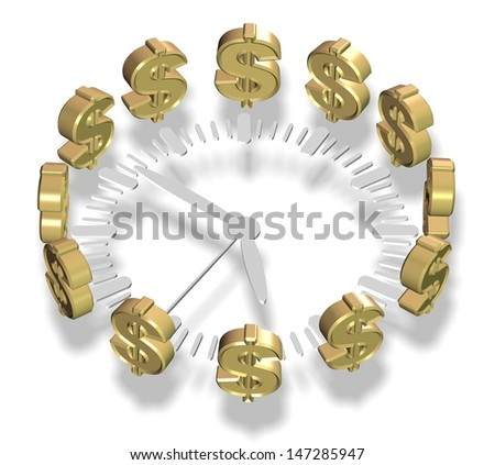 A clock surrounded by golden dollar symbols / Time and money - stock photo