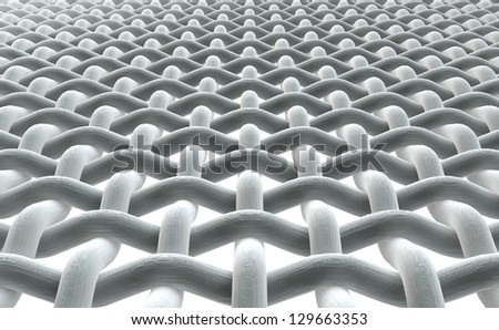 A close microscopic render of a simple woven fabric on a white background - stock photo