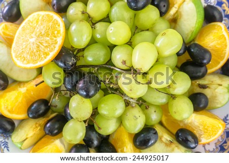 A close-up and selective focus fruites. Image has grain or blurry or noise and soft focus when view at full resolution. (Shallow DOF, slight motion blur)  - stock photo