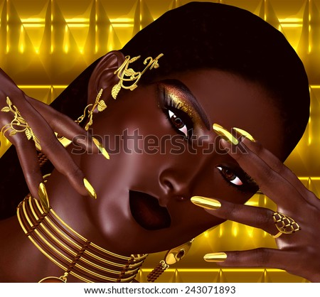 A close up face shot of a modern fashion woman is depicted in this abstract digital art rendering. Short hair, gold nail extensions and a glowing abstract background complete this fashion look.  - stock photo