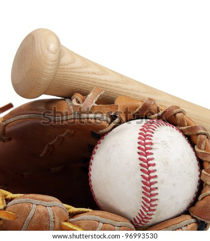 A close up of a baseball, mitt and bat on a white background with room to add white copy space. - stock photo