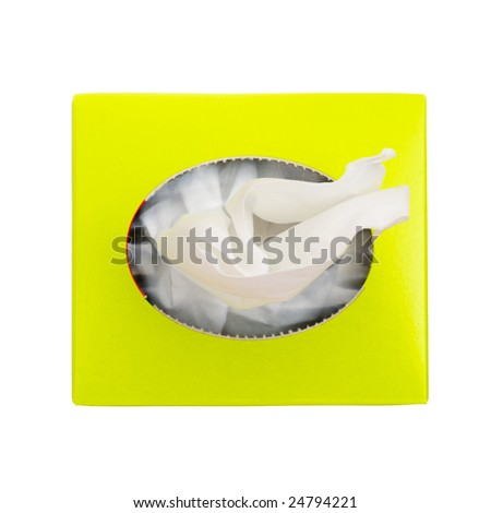 A close-up of a box of tissue paper, top view - stock photo