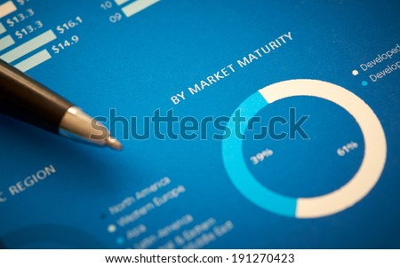 A close up of a business annual report on market maturity. - stock photo