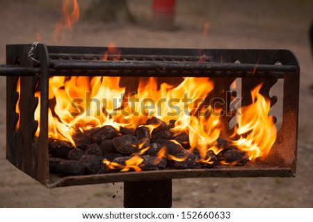 a close up of a charcoal grill - stock photo
