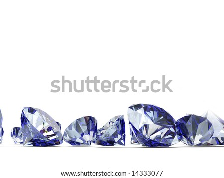 A close up of a diamond over a white background - stock photo