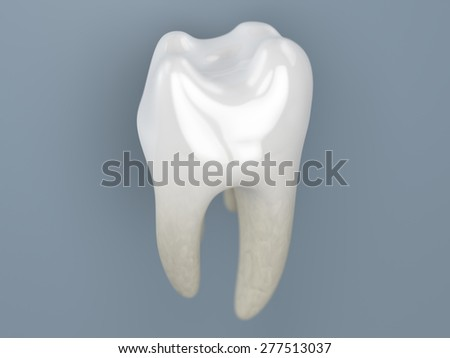 a close up of a rendering of a white tooth on a grey background - stock photo