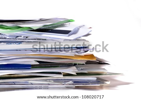 A close-up of a stack of paperwork with copy space to the right. Paper stack. - stock photo