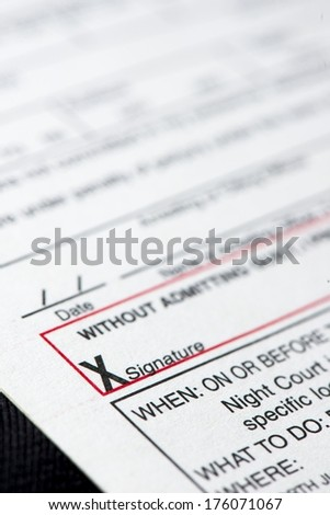 A close up of a traffic ticket. - stock photo