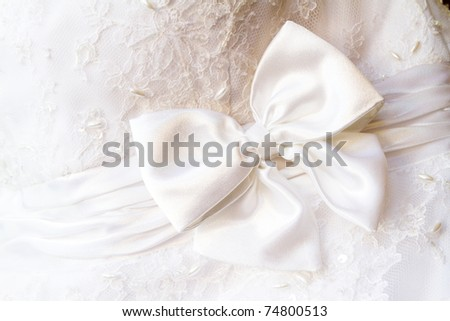 A close up of a wedding dress with a large silk bow - stock photo