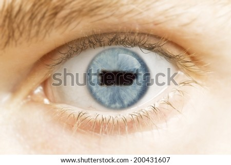 A close-up of an eye with the pupil in the shape of Puerto Rico.(series) - stock photo