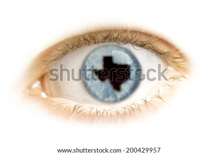 A close-up of an eye with the pupil in the shape of Texas.(series) - stock photo
