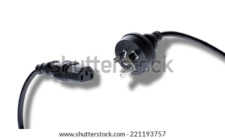 """A close up of an IEC electrical connection, also known as a """"jug plug"""". - stock photo"""