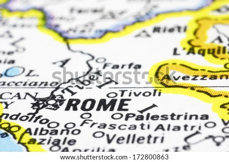 A close up of Rome on Map, city of Italy - stock photo