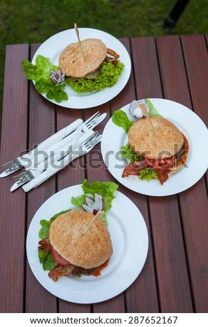 A close-up of tasty- look hamburger - stock photo