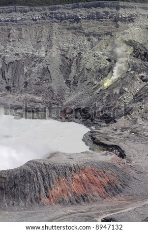 A close-up of the crater of active volcano Poas - stock photo