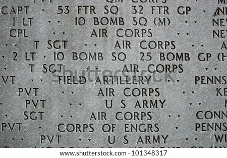 A close up of the East Coast War Memorial in New York City - stock photo
