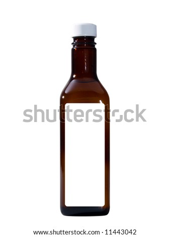 A close up on a bottle isolated on a white background. - stock photo