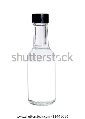 A close up on a bottle isolated on a white background with a blank label. - stock photo