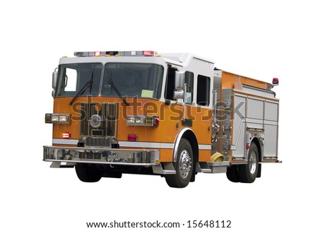 A close up on a firetruck isolated on a white background. - stock photo