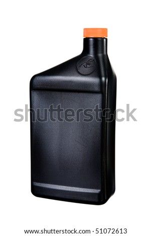 A close up on a plastic oil container isolated on a white background. - stock photo
