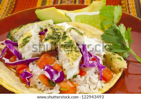 A close-up photo of a small fish taco plate with lime and avocado. - stock photo