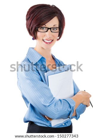 A close-up portrait of a beautiful smiling mature businesswoman,secretary or corporate employee  holding a clipboard and a pen isolated on a white background - stock photo