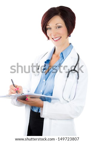 A close-up portrait of a smiling woman doctor taking patients notes and looking at you, isolated on a white background. Cardiology, family doctor or gynecologist. Patient's care - stock photo