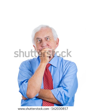 A close-up portrait of an elderly executive, old man, grandfather, senior corporate employee thinking about something, daydreaming, isolated on a white background. Human emotions, facial expressions. - stock photo