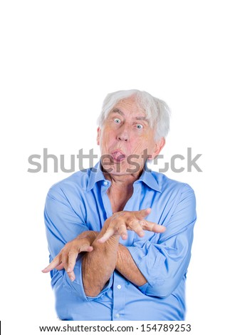 A close-up portrait of an elderly, mad, looking crazy, desperate man, grandfather, going insane, isolated on a white background. Human emotions extremes. Loneliness, grief, family loss. Psychosis.  - stock photo
