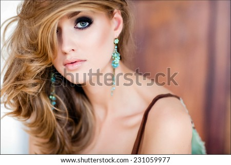 A close-up portrait of sexy blonde girl - stock photo