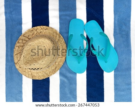 A close up shot of a beach towel - stock photo