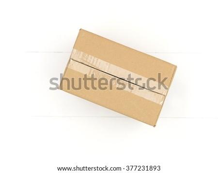A close up shot of a cardboard box - stock photo