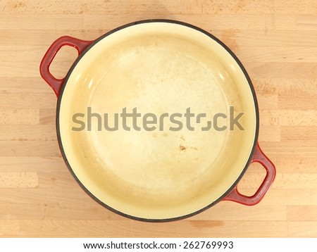 A close up shot of a casserole pot - stock photo