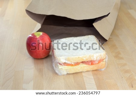 A close up shot of a conceptual packed lunch - stock photo