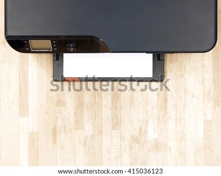 A close up shot of a home document printer - stock photo